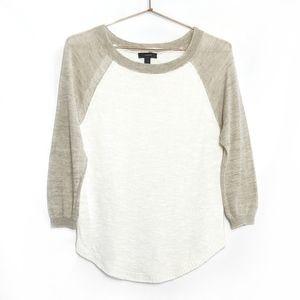 J Crew • Airspun Linen Baseball Sweater
